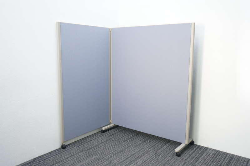 コクヨ パネルスクリーン 2連タイプ 全面クロス ブルー W1230+900 D460 H1500