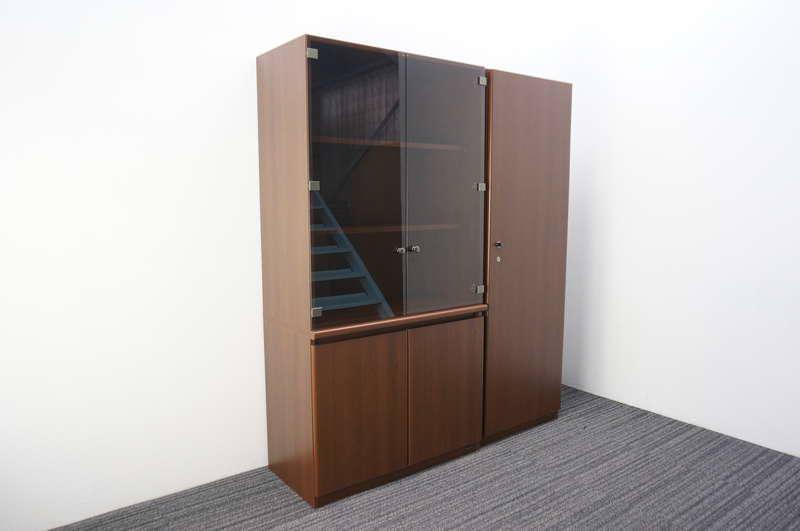 オカムラ DX-2 ガラス書棚+木製ワードローブ セット品 H1800
