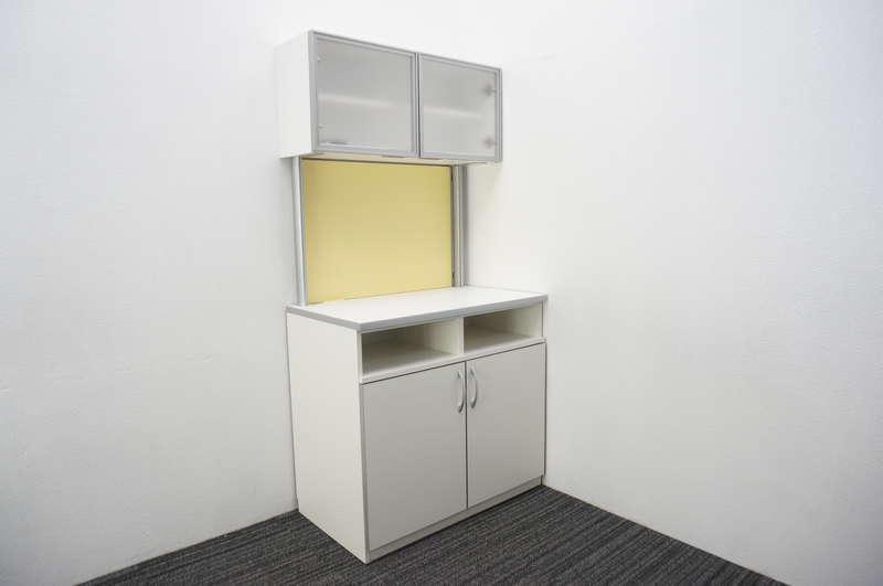 【家財便対応のみ】オカムラ アルトカフェ ビジネスキッチン ハイタイプB W900 D520 H1800 ホワイト