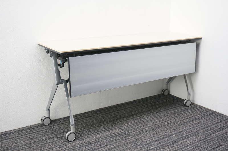 オカムラ インターアクトNT フラップテーブル 1545 幕板付 ライトプレーン