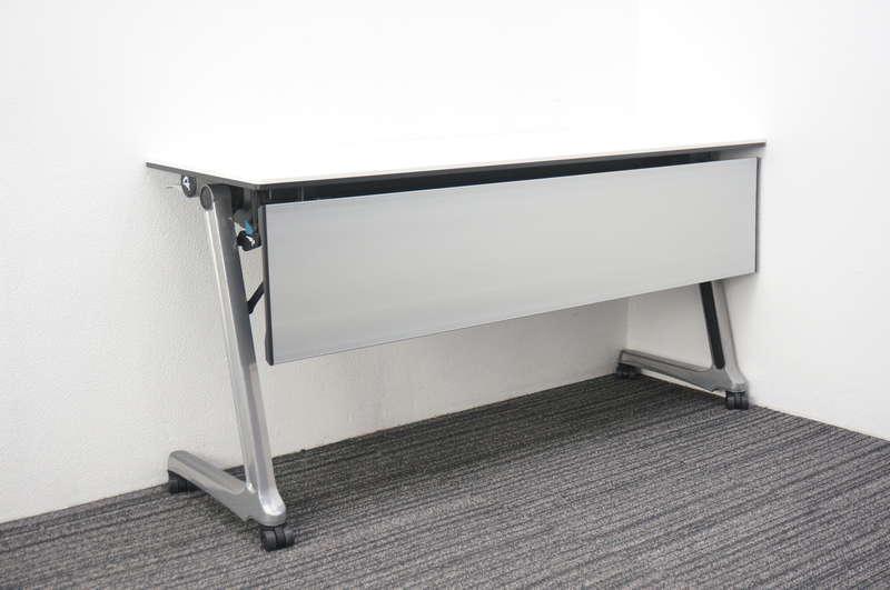 オカムラ インターアクトプロ フラップテーブル 1545 幕板付 ホワイト