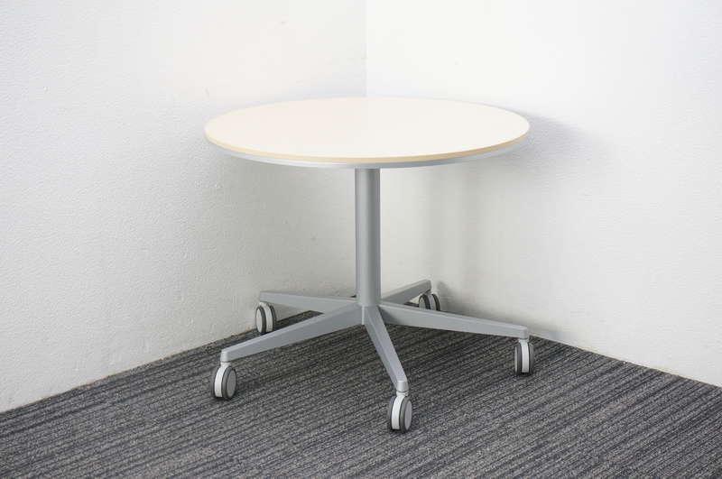 オカムラ アプションフリー 丸テーブル 昇降機能付 キャスタータイプ ライトプレーン Φ750 H605-805