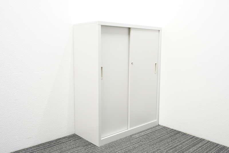 豊国工業 2枚引戸書庫 W880 D400 H1120 ホワイト