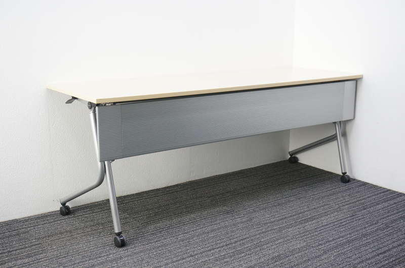 オカムラ ネスティア フラップテーブル 1860 幕板付/網棚付 ライトプレーン