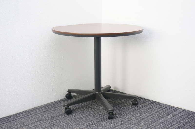 オカムラ DX-4N サブテーブル(丸テーブル) キャスター付 W740 D800 H723 ウォールナット