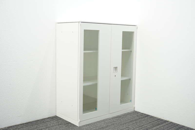 オカムラ レクトライン ガラス両開き書庫 天板付 H1115 ZA75色