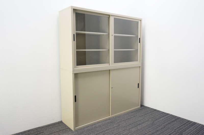 コクヨ スチール引戸+ガラス引戸2段書庫 W1500 D400 H1760 AY色