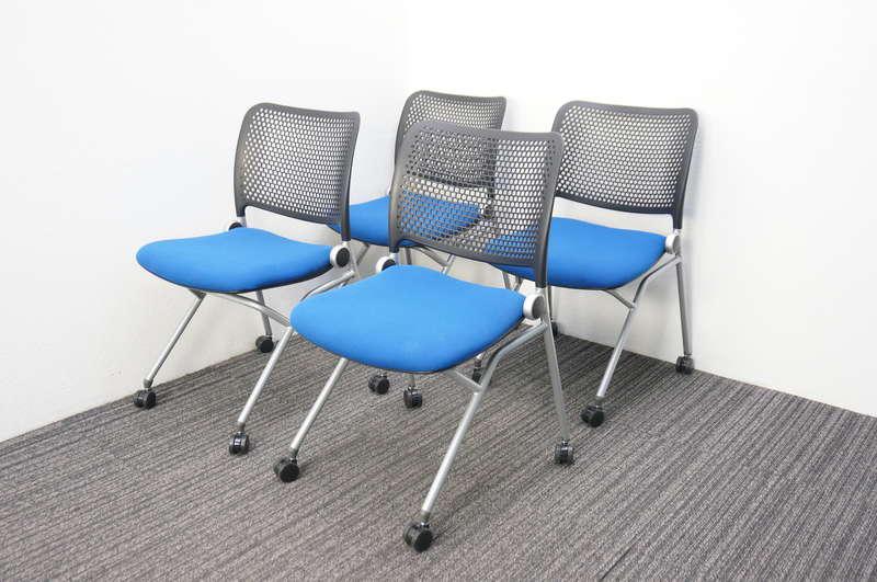 ウチダ ブルーメ ミーティングテーブル ブルー 4脚セット 2018年製
