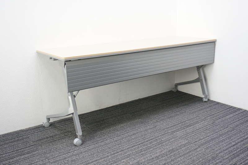 オカムラ カルドー フラップテーブル 1860 幕板付 ネオウッドライト