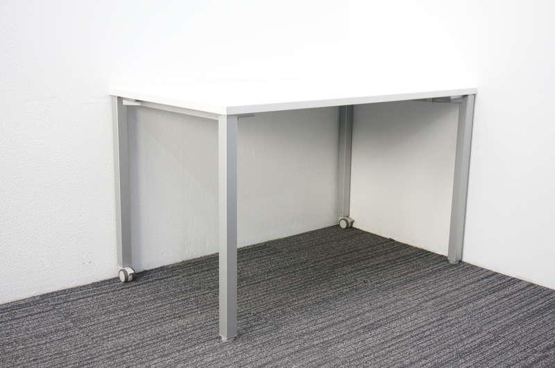 オカムラ アプションフリー ミーティングテーブル 1270 片側キャスター脚 ホワイト