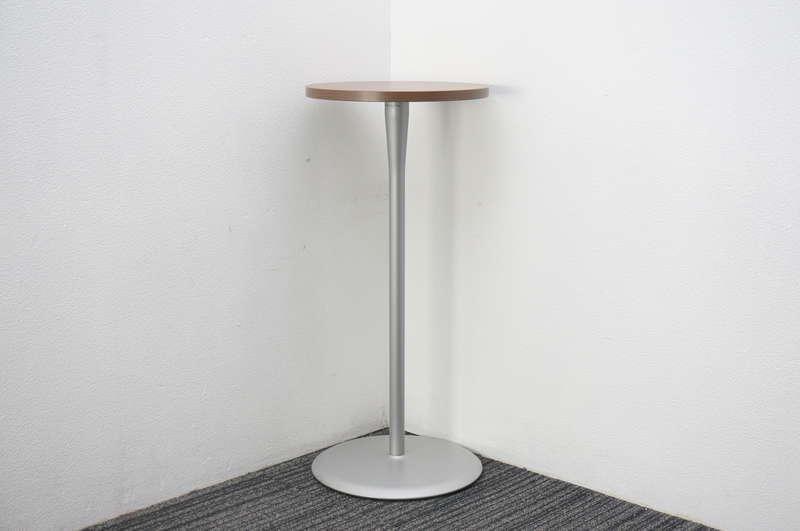 オカムラ アルトカフェ ハイテーブル ネオウッドダーク Φ450 H1000