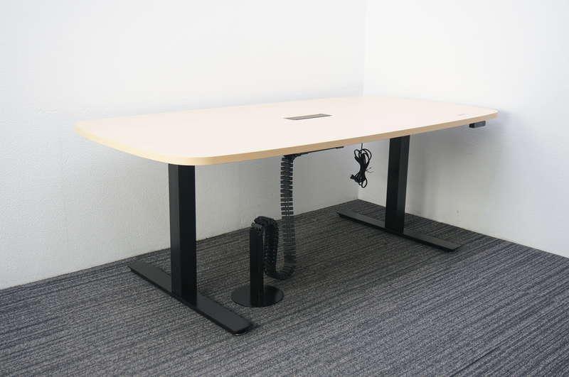 プラス ワークムーブ 昇降テーブル 1890 H650-1250 ホワイトメープル