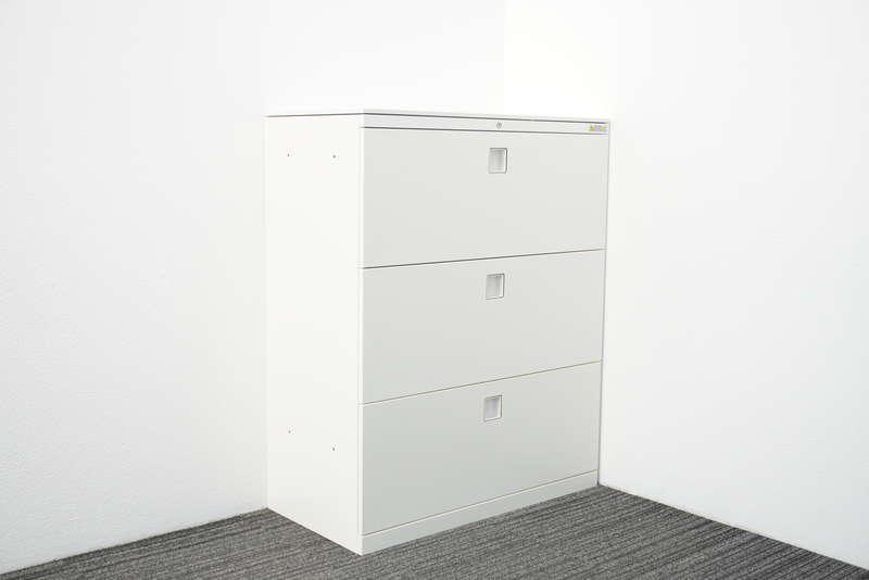 オカムラ レクトライン 3段ラテラル書庫 天板付 H1115 ZA75色