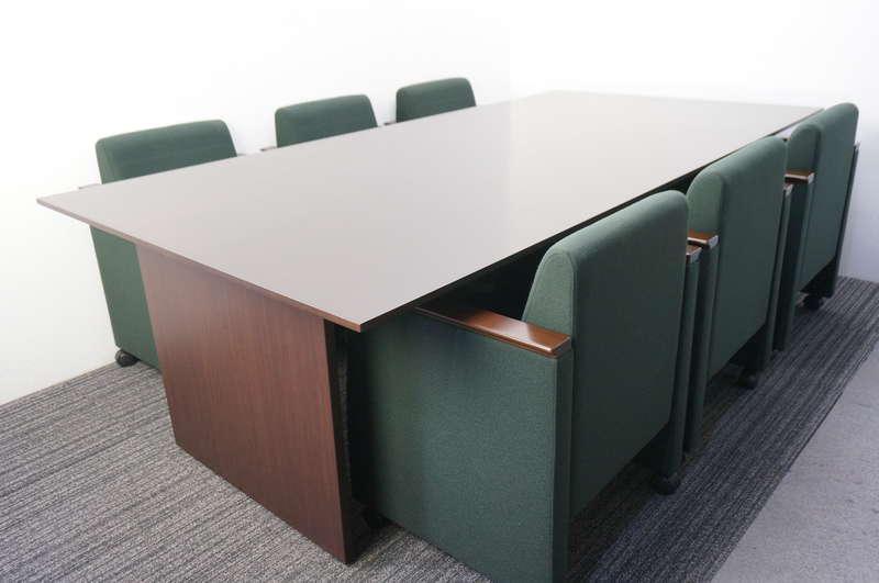 イトーキ スリックテーブル ミーティングテーブル 2412 オークダークブラウン + F-7 ミーティングチェア 6脚セット オフブラック