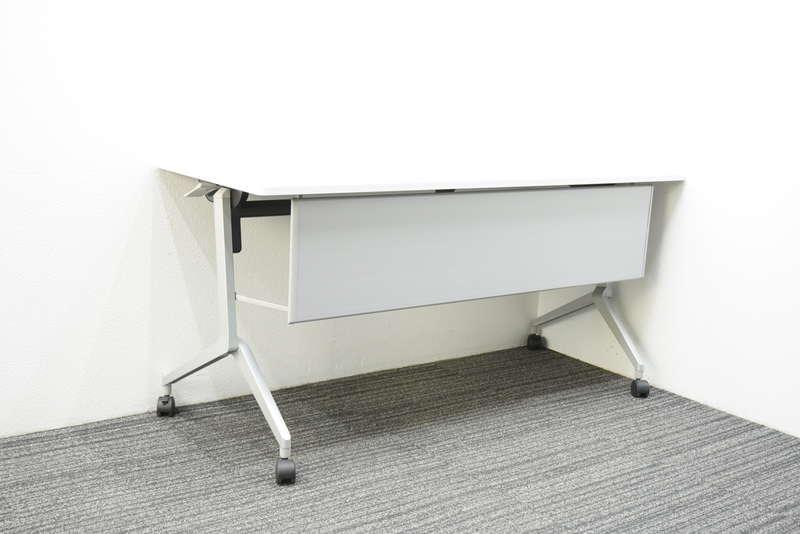 コクヨ リーフライン フラップテーブル 1560 幕板付 網棚付 ホワイト H720