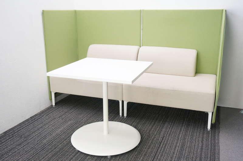 オカムラ アルトリビング ローバックソファパネル付×2個 + ミーティングテーブル 0770 セット