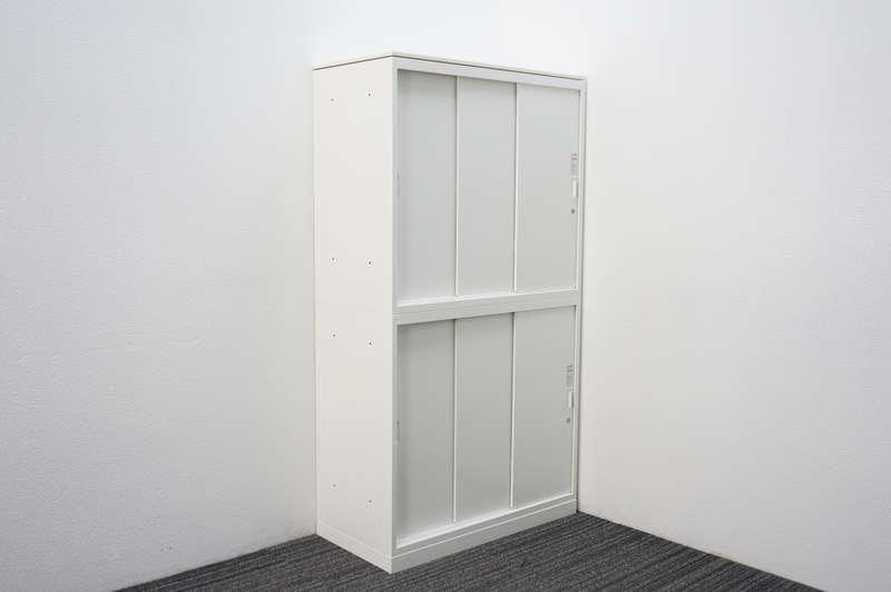オカムラ レクトライン 3枚引戸2段書庫 天板付 W800 D400 H1485 ZA75色