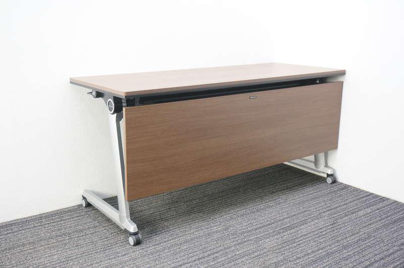 オカムラ エレガスタ フラップテーブル 1560 幕板付 ネオウッドダーク