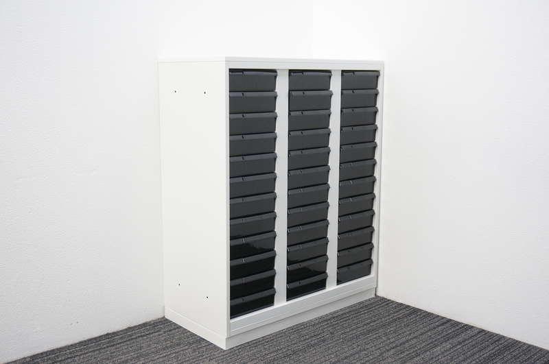 ウチダ 書類整理庫 3列12段 天板付 H1120 ホワイト