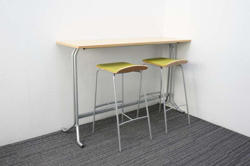 イトーキ オルノ ハイテーブル 1545 H950 フレッシュメープルL + ハイチェア アップルグリーン 2脚セット