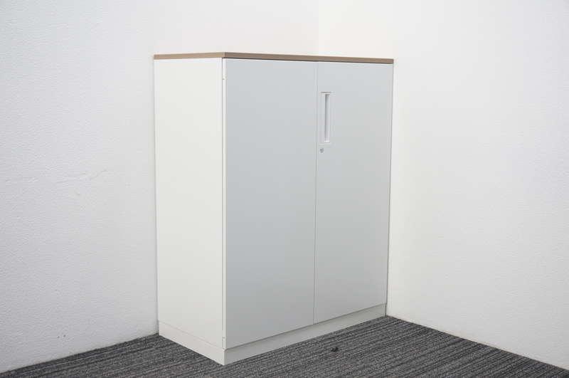 コクヨ エディア 両開き書庫 天板付(アッシュブラウン) ホワイト H1130