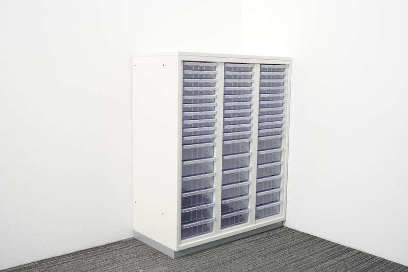 【2017年製】プラス 書類整理庫 3列16段 コンビ A4 天板付 H1120 ホワイト