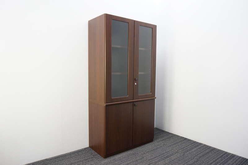 オカムラ DX-4N ガラス書棚 H1800 ウォールナット