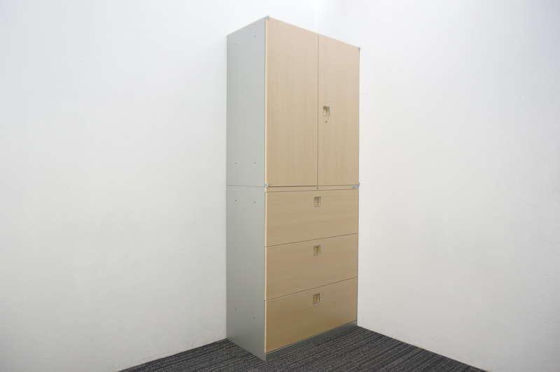 オカムラ レクトライン ウッドタイプ 3段ラテラル+両開き書庫 ネオウッドライト/スキップシルバー H2150