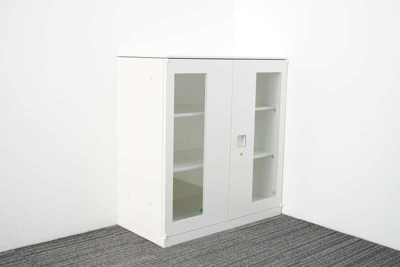 オカムラ レクトライン ガラス両開き書庫 天板付 H965 ホワイト