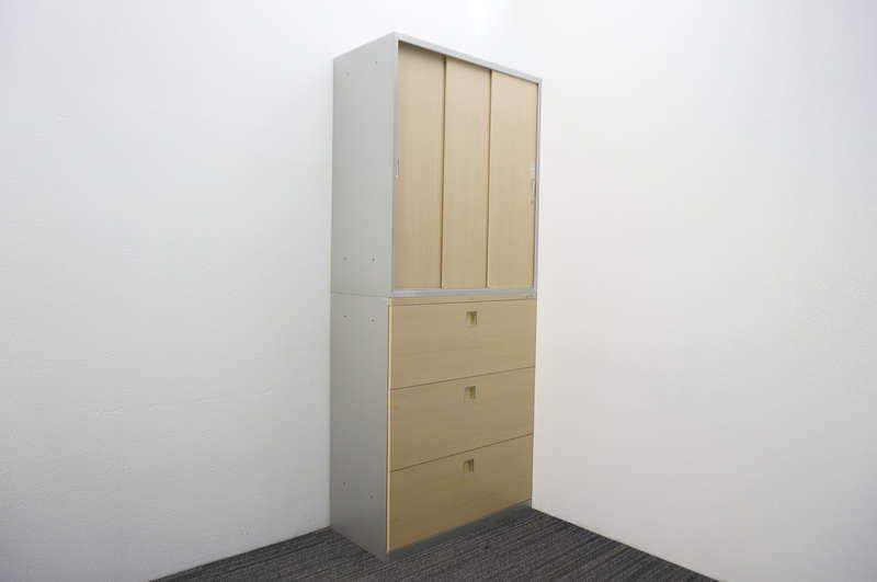 オカムラ レクトライン ウッドタイプ 3段ラテラル+3枚引戸書庫 ネオウッドライト/スキップシルバー H2150