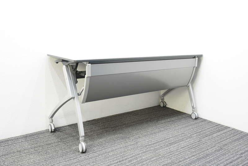 プラス ルアルコ フラップテーブル 1560 幕板付 棚板付 ホワイト
