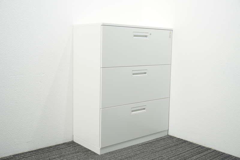 コクヨ エディア 3段ラテラル書庫 天板付 H1130 ホワイト