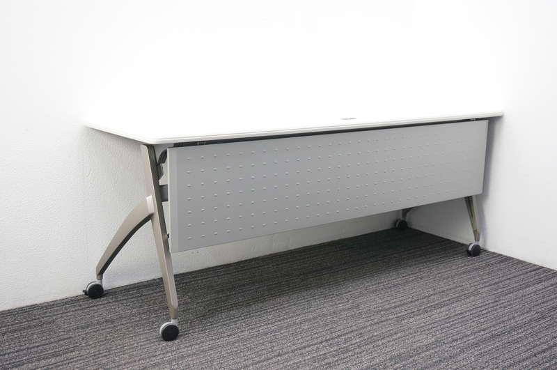 ウチダ SH型 フラップテーブル 1860 幕板付 網棚付 コンセント付 ホワイト