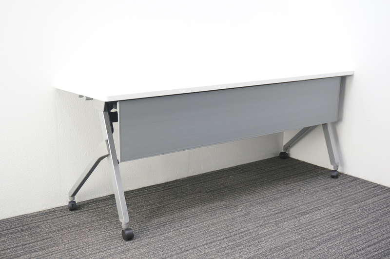 オカムラ フラプター フラップテーブル 1860 幕板付 網棚付 H720 ホワイト