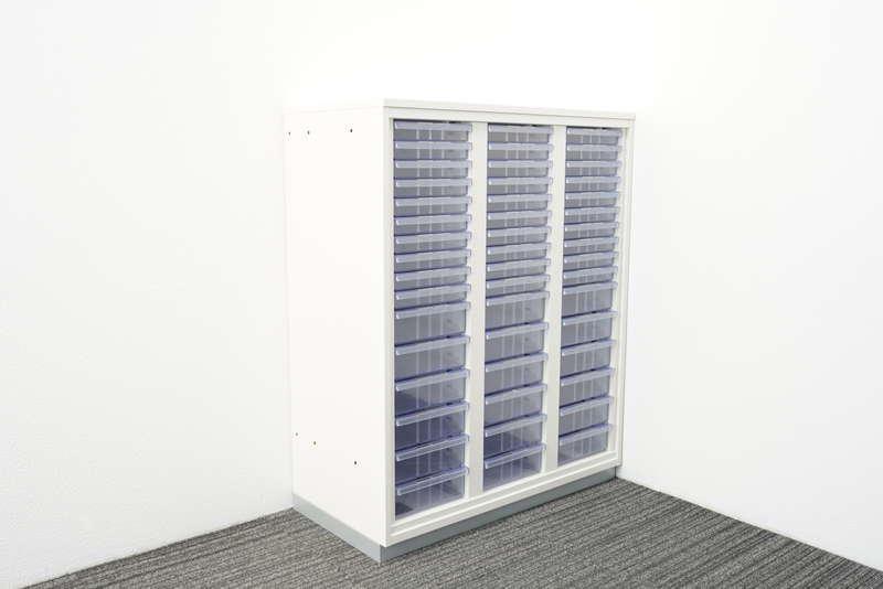 プラス 書類整理庫 3列16段 コンビ A4 天板付 H1120 ホワイト