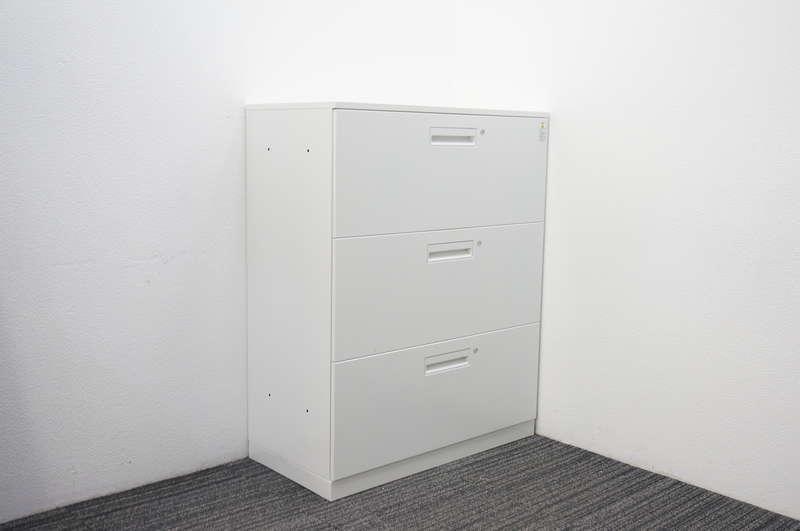 コクヨ エディア 3段ラテラル書庫 個別ロック 天板付 ホワイト H1130
