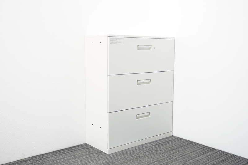 プラス レガーティオ 3段ラテラル書庫 天板付 W900 D400 H1120 ホワイト