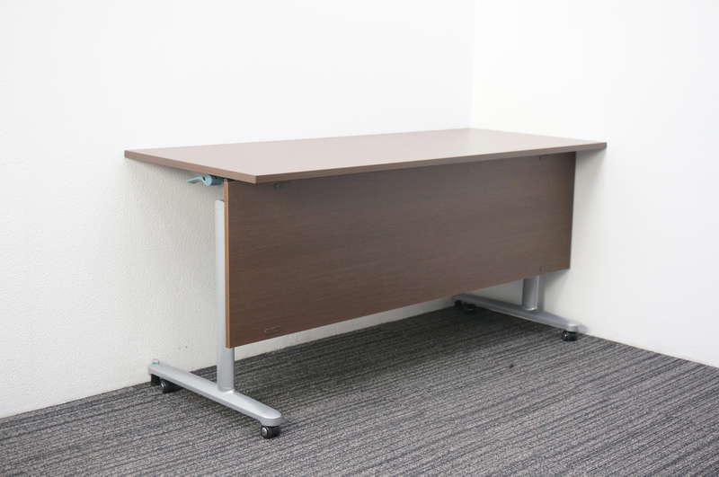 イトーキ HE フラップテーブル 1560 幕板付 網棚付 ファインウォールナットD
