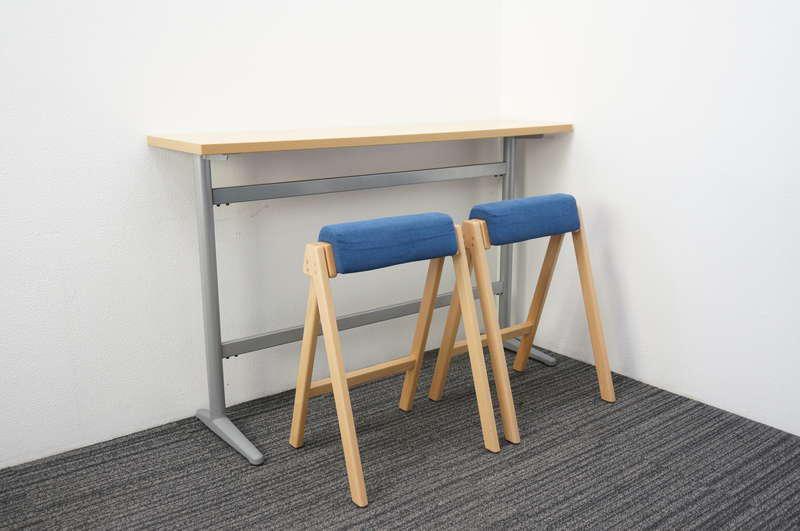 パブリック ハイテーブル 1540 H950 + プラス モバイルスツール ハイタイプ ブルー2脚セット