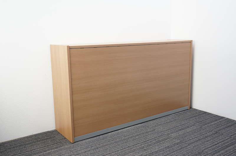 オカムラ SEハイカウンター オープン書庫タイプ サイドパネル付 W1850 D460 H1005 ネオウッドミディアム
