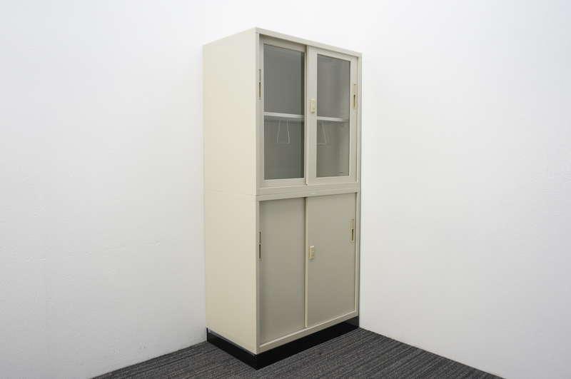 ライオン ガラス引戸+スチール引戸書庫 深型 W880 D515 H1850